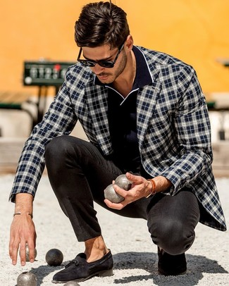 How to wear: navy and white plaid blazer, navy polo, black dress pants, black suede tassel loafers