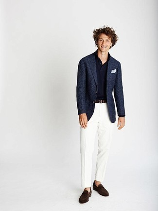 Fashion for 20 Year Old Men: What To Wear: You can be sure you'll look smooth and classic in a navy blazer and white dress pants. Our favorite of a multitude of ways to round off this look is with a pair of dark brown suede loafers. A great getup to show the world your maturity even as a 20-year-old.