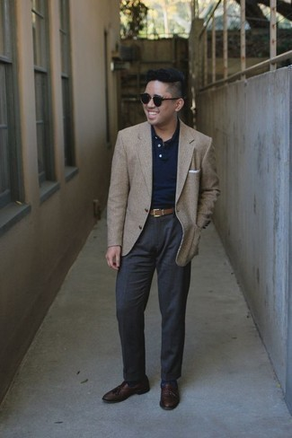 How to Wear Brown Leather Tassel Loafers: One of the best ways to style out such a hard-working menswear item as a beige blazer is to wear it with charcoal dress pants. Brown leather tassel loafers are a savvy choice to finish off your outfit.