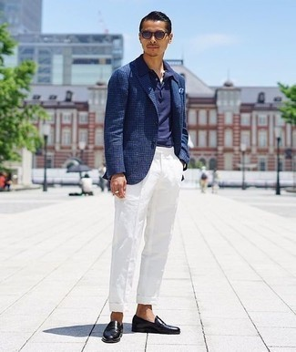 How to Wear Black Leather Loafers For Men: This pairing of a navy houndstooth blazer and white dress pants is a fail-safe option when you need to look truly smart and sophisticated. Complement this outfit with a pair of black leather loafers et voila, this look is complete.