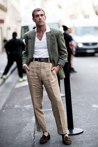 White Polo Outfits For Men: This pairing of a white polo and khaki dress pants is a must-try effortlessly classic outfit for today's guy. And if you want to instantly level up this getup with footwear, why not introduce dark brown suede double monks to the mix?