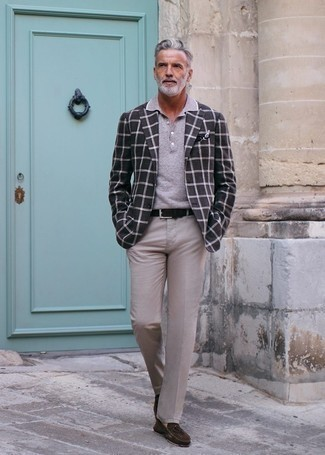 Driving Shoes Outfits For Men: This combo of a charcoal check blazer and beige dress pants couldn't possibly come across as anything other than outrageously stylish and refined. A pair of driving shoes effortlessly boosts the cool of your outfit.
