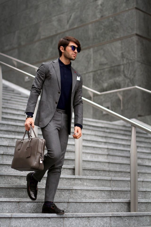 Men's Grey Blazer, Navy Polo, Grey Dress Pants, Dark Brown Leather ...