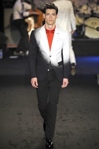 buy popular official price new items Men's Black and White Ombre Blazer, Orange Polo, Black Jeans ...