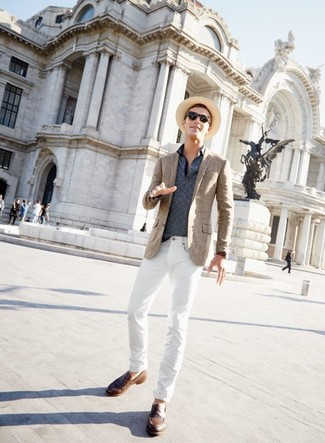 How to wear: brown plaid blazer, navy horizontal striped polo, white jeans, brown leather loafers