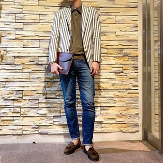 How to wear: white vertical striped blazer, olive polo, navy jeans, olive suede tassel loafers