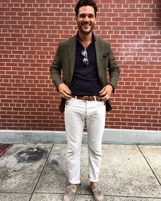 Navy Polo Outfits For Men: This pairing of a navy polo and white jeans is very versatile and really up for whatever's on your errand list today. If you want to effortlessly up the style ante of this ensemble with shoes, make grey fringe suede loafers your footwear choice.