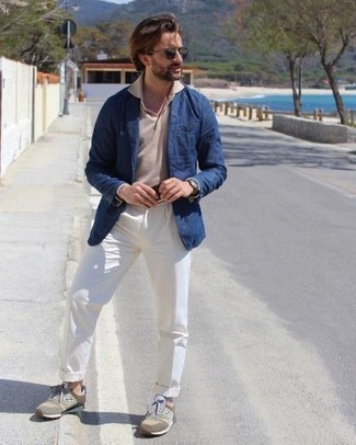 White Dress Pants Outfits For Men: A navy blazer looks especially elegant when married with white dress pants for an ensemble worthy of a British gent. For something more on the daring side to complete this outfit, enter a pair of olive athletic shoes into the equation.