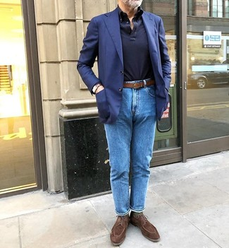 How to wear: navy blazer, navy polo neck sweater, blue jeans, brown suede derby shoes