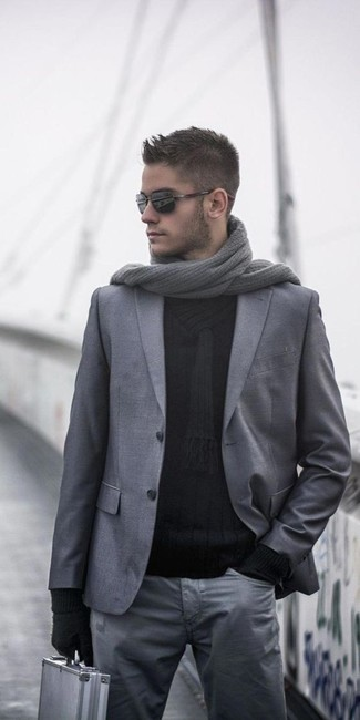 How to wear: grey wool blazer, black shawl-neck sweater, grey chinos, grey knit scarf