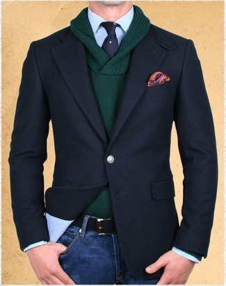 How to wear: black blazer, dark green shawl-neck sweater, light blue dress shirt, blue jeans