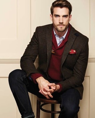 How to wear: dark brown wool blazer, burgundy shawl-neck sweater, light blue long sleeve shirt, black jeans
