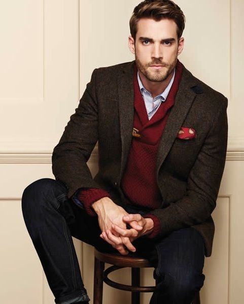Men's Dark Brown Wool Blazer, Burgundy Shawl Neck Sweater, Light ...