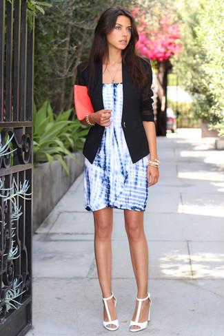 How to wear: black blazer, blue tie-dye sheath dress, white leather heeled sandals, hot pink leather clutch