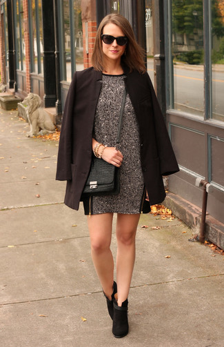 How to wear: black blazer, charcoal wool shift dress, black suede ankle boots, black snake leather crossbody bag