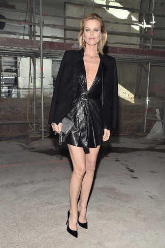 How to wear: black blazer, black leather shift dress, black satin pumps, silver sequin clutch
