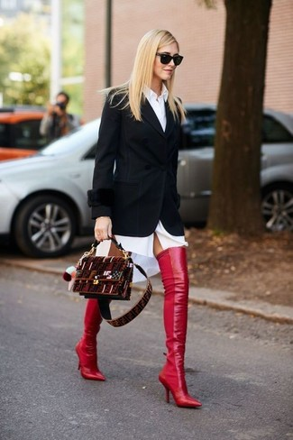 How to wear: black blazer, white shirtdress, red leather over the knee boots, burgundy suede crossbody bag