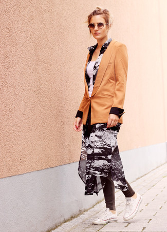 How to wear: tan blazer, black and white print chiffon shirtdress, white tank, charcoal leggings
