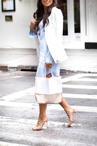 White Blazer Outfits For Women: This casual combo of a white blazer and a light blue shirtdress takes on different forms depending on the way it's styled. A pair of beige leather heeled sandals looks perfectly at home here.