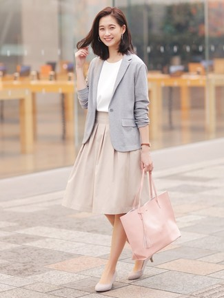 How to wear: grey knit blazer, white short sleeve blouse, beige full skirt, grey suede pumps