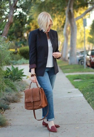 How to wear: black vertical striped blazer, white short sleeve blouse, blue jeans, burgundy leather loafers
