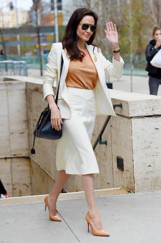 Women's White Blazer, Tan Short Sleeve Blouse, White Pencil Skirt, Tan Leather Pumps