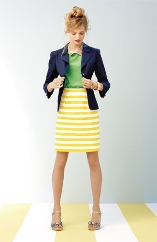 Women's Navy Blazer, Green Short Sleeve Blouse, Yellow Horizontal ...