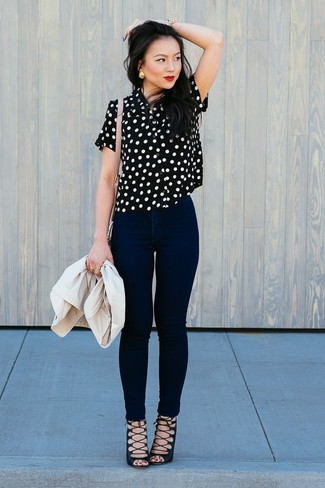How to wear: beige blazer, black and white polka dot short sleeve blouse, black skinny jeans, black suede gladiator sandals