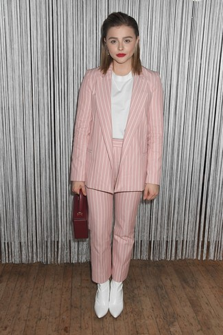 How to wear: pink vertical striped blazer, white short sleeve blouse, pink vertical striped tapered pants, white leather ankle boots