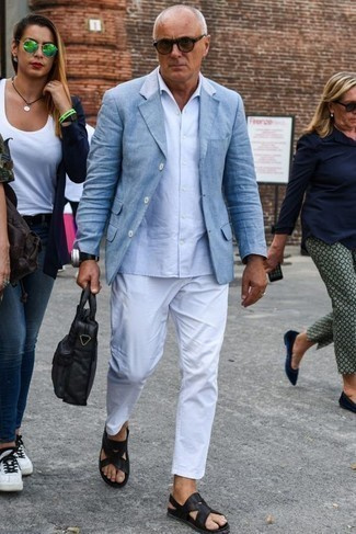 How to Wear a Light Blue Short Sleeve Shirt For Men: Rock a light blue short sleeve shirt with white chinos for a hassle-free getup that's also put together. Black leather sandals are a fail-safe way to add a sense of stylish casualness to this outfit.