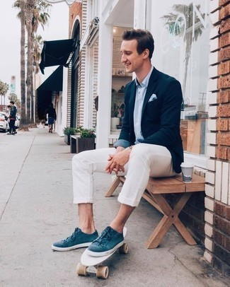 How to Wear a Light Blue Short Sleeve Shirt For Men: A light blue short sleeve shirt and white chinos are must-have menswear items to have in the off-duty part of your wardrobe. A pair of teal canvas low top sneakers looks wonderful here.