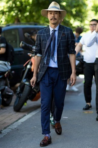 Navy Print Silk Scarf Outfits For Men: This casual pairing of a navy plaid blazer and a navy print silk scarf is a never-failing option when you need to look stylish in a flash. Brown leather tassel loafers are an effortless way to inject an extra touch of style into your look.