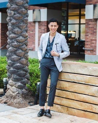 Light Blue Blazer with Navy Dress Pants Outfits For Men: This classy pairing of a light blue blazer and navy dress pants will cement your outfit coordination savvy. A pair of black leather derby shoes integrates smoothly within a ton of getups.