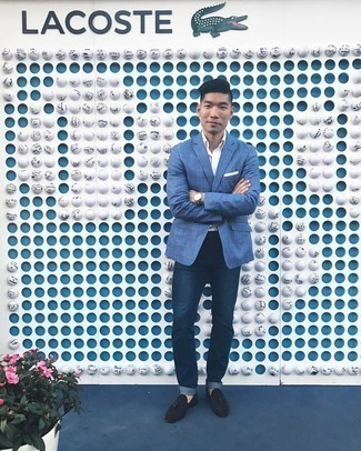 Blue Check Blazer Outfits For Men: This off-duty pairing of a blue check blazer and navy jeans is a real life saver when you need to look casually dapper in a flash. You know how to play it up: dark brown suede tassel loafers.