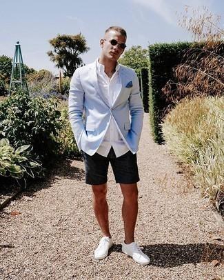 Light Blue Blazer Outfits For Men: One of the coolest ways for a man to style out such a practical piece as a light blue blazer is to team it with charcoal shorts. Take this getup a more casual path with white canvas low top sneakers.