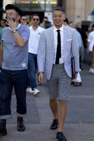 Men's Outfits 2021: Reach for a white and navy vertical striped blazer and grey shorts if you wish to look casually stylish without too much work.
