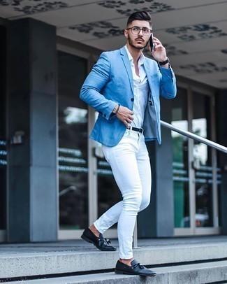Light Blue Blazer Outfits For Men (249