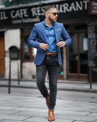Tobacco Leather Belt Outfits For Men: Consider pairing a blue blazer with a tobacco leather belt if you're hunting for a look option for when you want to look casual and cool. Puzzled as to how to complement your getup? Finish with a pair of brown leather chelsea boots to kick it up.