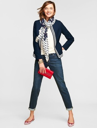 How to wear: navy and white blazer, white short sleeve sweater, navy boyfriend jeans, white and red leather ballerina shoes