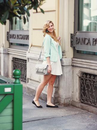 How to wear: light blue blazer, white skater dress, black leather ballerina shoes, grey leather satchel bag