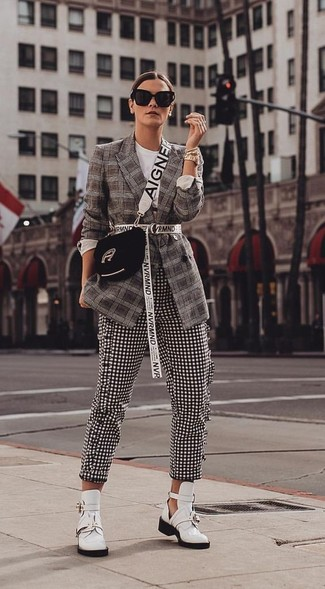 How to wear: dark brown plaid blazer, black and white gingham skinny pants, white cutout leather ankle boots, black suede crossbody bag