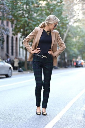 How to wear: tan blazer, navy and green plaid skinny pants, black suede ballerina shoes, black leather belt