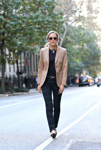 How to wear: tan blazer, navy plaid skinny pants, black leather pumps, black leather belt