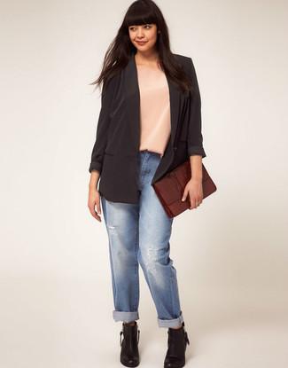 How to wear: black silk blazer, beige silk sleeveless top, light blue ripped boyfriend jeans, black leather ankle boots