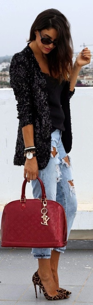 A black sequin blazer and light blue destroyed boyfriend jeans are great essentials to incorporate into your current wardrobe. A pair of camel leopard suede pumps adds some real flair to this ensemble. It goes without saying that this one makes for a great, spring-friendly outfit.