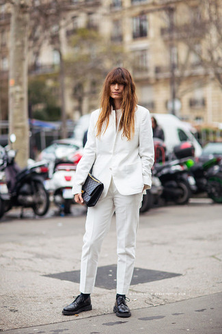 If you're in search of a casual yet chic ensemble, go for a white blazer jacket and white dress pants. Both garments are totally comfy and will look fabulous together. Black leather derby shoes will add a more relaxed feel to your getup. This one will play especially nice when spring sets it.