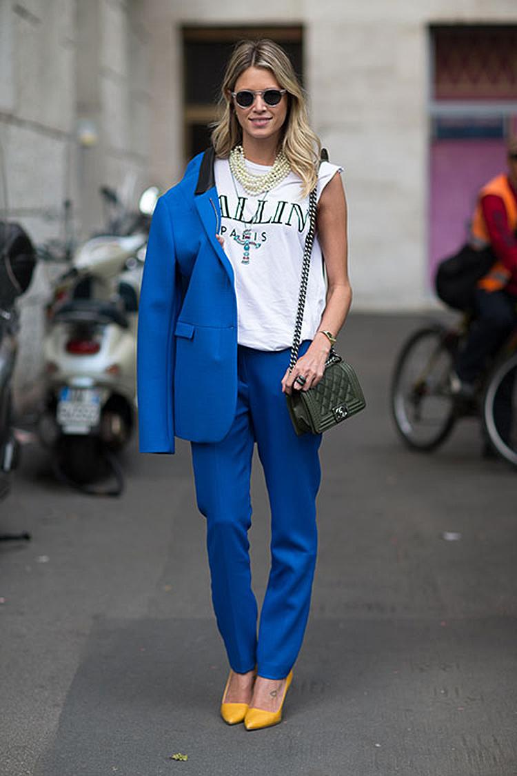 Women's Blue Blazer, White and Black Print Sleeveless Top, Blue ...