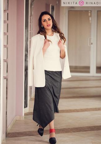 How to wear: white blazer, white sleeveless top, charcoal midi skirt, black leather pumps