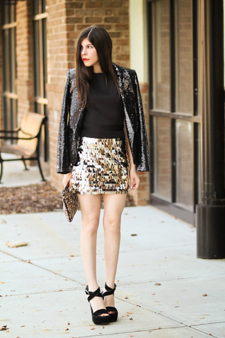 How to wear: black sequin blazer, black sleeveless top, gold sequin mini skirt, black chunky suede heeled sandals