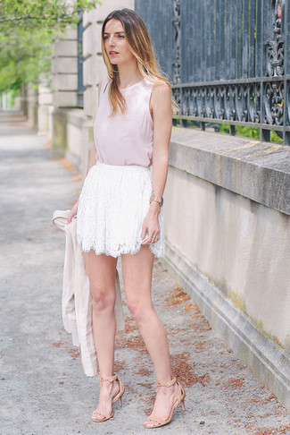 White Lace Mini Skirt Outfits: If you're hunting for an off-duty yet totaly stylish look, wear a beige blazer with a white lace mini skirt. On the fence about how to finish? Complement this ensemble with a pair of beige suede heeled sandals to kick up the chic factor.